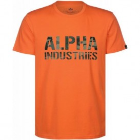 T-SHIRT ALPHA CAMO PRINT FLAME ORANGE/WOODLAND CAMO