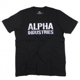 T-SHIRT ALPHA CAMO PRINT BLACK/WHITE