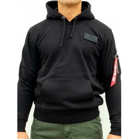 ΦΟΥΤΕΡ ALPHA INDUSTRIES RED STRIPE HOODY BLACK/WHITE